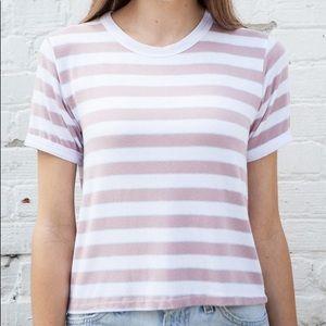 Brandy Melville Pink white stripe top